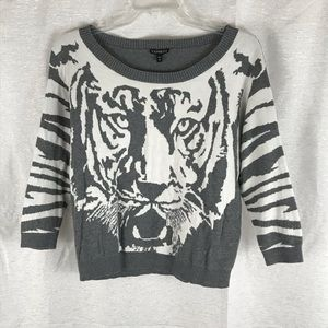 EXPRESS Gray with White Tiger Face Sweater M
